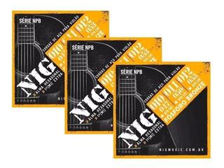 Kit 3 Encordoamentos Violão Aço Bronze 012 053 Nig Npb530