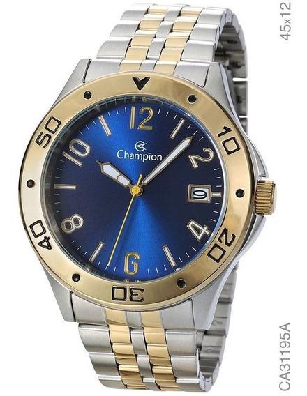 Relógio Champion Feminino Dourado E Prata Fdo Azul Ca31195a