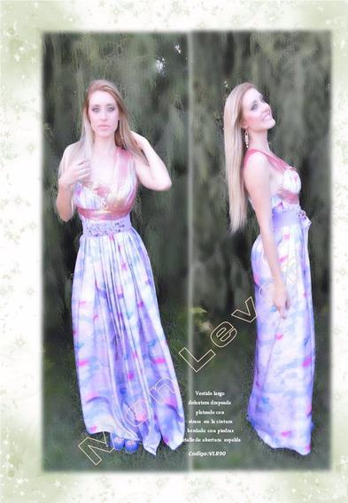 Vestido De Seda Estampada , Drapeado
