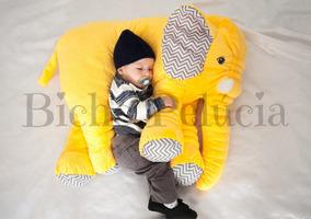 Almofada Travesseiro Elefante Pelúcia Amarelo Chevron 80cm
