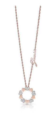 Collar Para Mujer Guess Heart Bouquet Color Oro Rosado