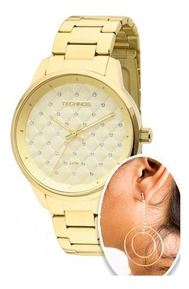 Relógio Feminino Technos Dourado 2035lxu/4d Brinde Brinco