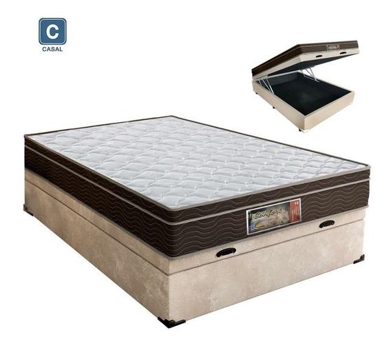 Cama Box Baú Casal + Colchão Molas Soft Dream 138x188x20 Cm
