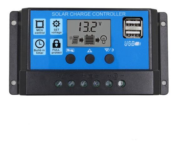 Controlador De Carga Painel Solar 30a 12e24v Pwm C/ Lcd Usb