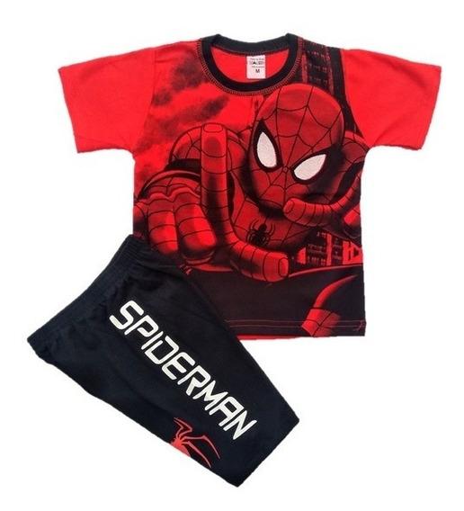 Conjunto Roupa Infantil Homem Aranha Super Heróis - 1 Ao 7