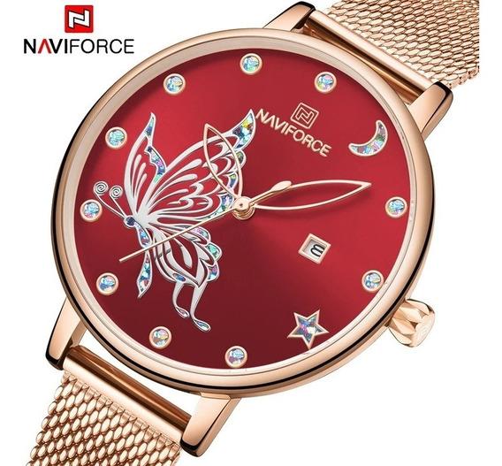 Relógio Naviforce 5011 Feminino Original Rose Preto Azul