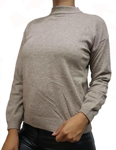 Sweater Polera Cuello Alto Elastizado Para Mujer