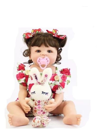 Bebê Realista Morena Linda Ursinho Menina Promoção Bb4