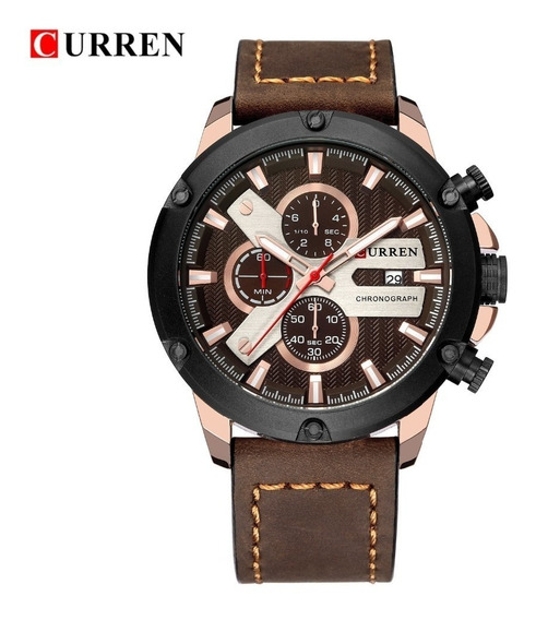Relógio Masculino Cronógrafo Aço Inoxidável Couro + Brinde