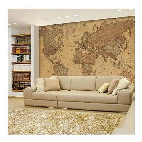 Wall26 - Mapa Vintage Blanco Y Negro Antiguo Política Mundia