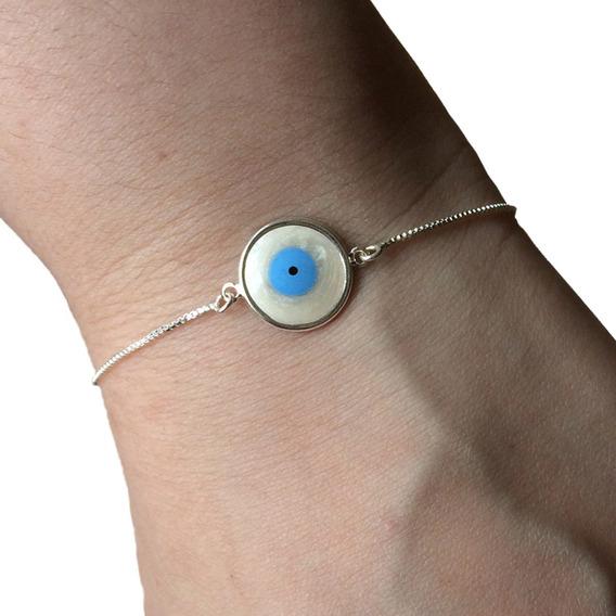 Pulseira Olho Grego Prata 925 Legítima