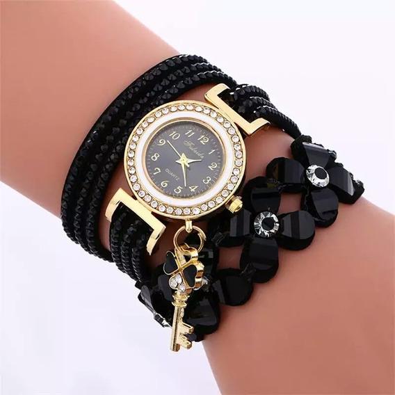 Relógio Fashion Com Cristal Pulseira Detalhe Flor