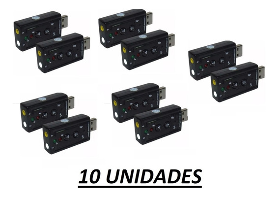 10 X Placa De Som Usb 7.1 Canais Adaptador Audio Pronta Entrega Atacado