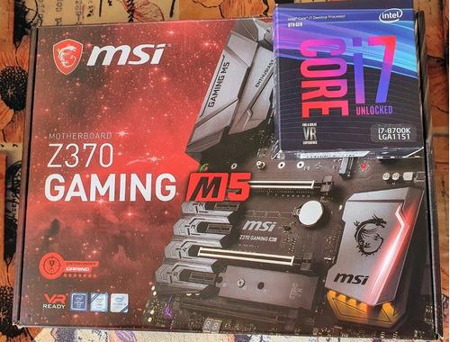 Imagem 1 de 10 de Processador Intel Core I7-8700k + Msi Z370 Gaming M5