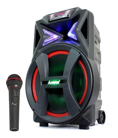Caixa De Som Amplificada Amvox Aca 700 Pancadão Microfone