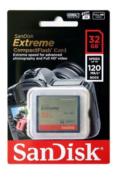 Sandisk Extreme Compactflash 32gb 120mb/s800x Pronta Entrega