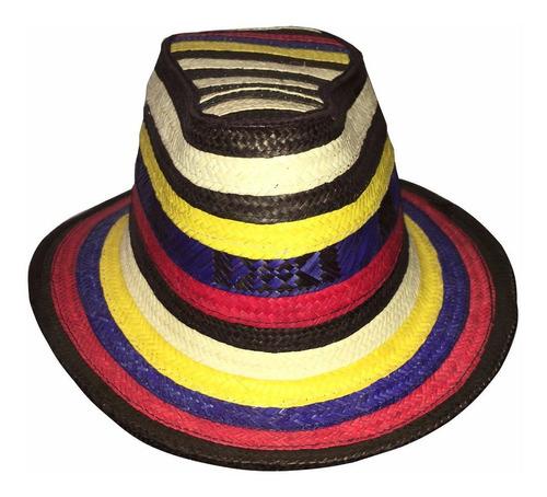 Sombrero Vueltiao Corto Quince Tricolor Amarillo Azul Rojo