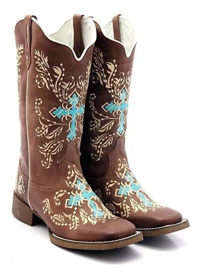 Bota Texana Feminina Cano Longo Bordada Cruz Bico Quadrado