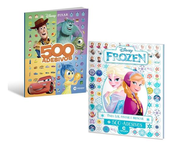 Kit 2 Livros 500 Adesivos Frozen + Disney Pixar - Culturama