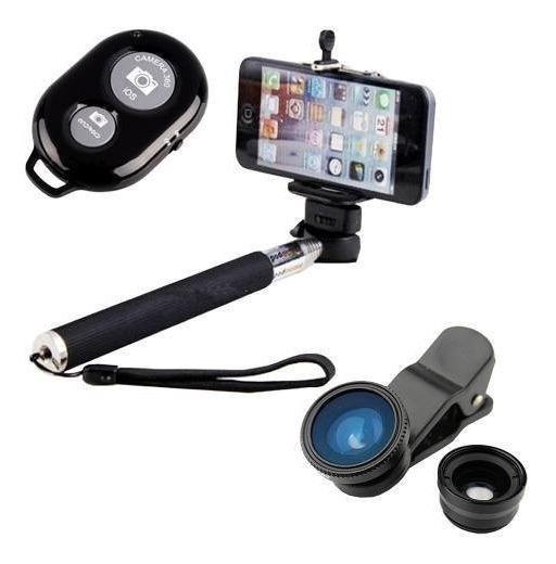 Kit Celular Pau De Selfie Lentes iPhone 6 Z3 S5 Moto G Lg G3