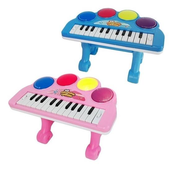Piano Para Bebe Teclado Infantil Musical Som Luz E Melodias
