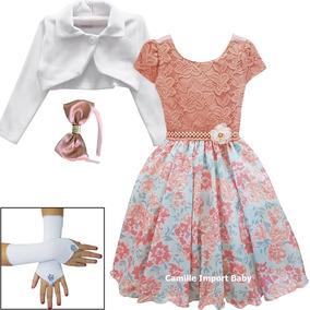 Vestido De Festa Infantil Floral Princesa Luxo Bolero Luvas