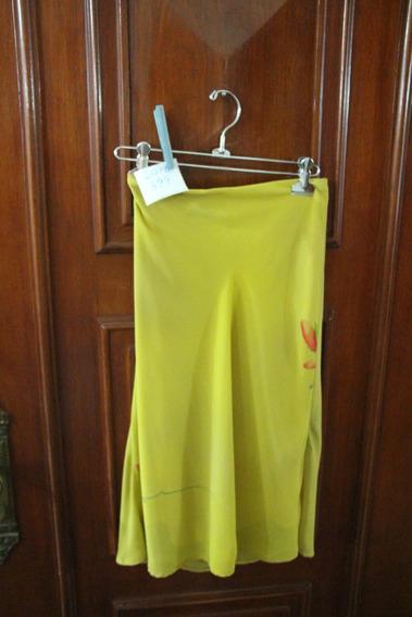 = Roupa Lote 599 Mulher Saia Seda Florido Amarelo 44