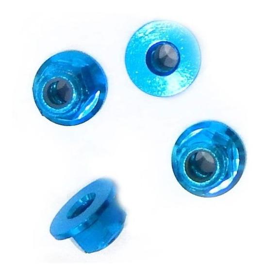 Porca 4mm Flange Roda Auto Alumínio Azul (4 Porcas)