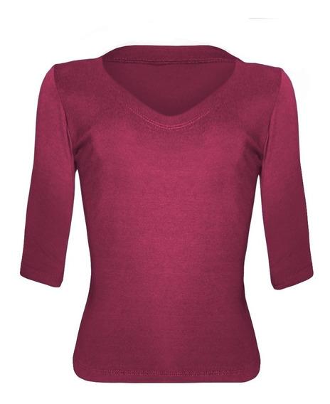 Blusa Manga 3/4 Decote V Camiseta Básica Feminina T-shirt