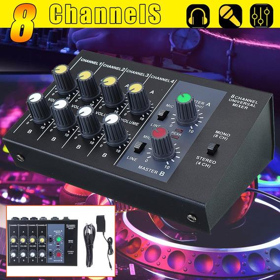 Pro 8 Channel Mixing Console Som Stage Live Studio Áudio Dj