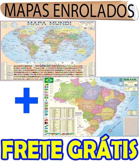 Mapa Mundi + Brasil Escolar Politico Enrolado + Frete Gratis