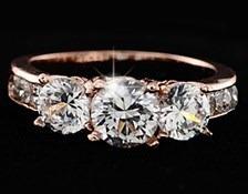 Hermoso Anillo Compromiso Baño Oro 18k Swarovsky Crystals