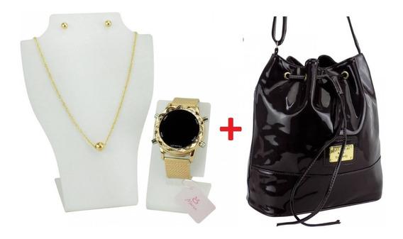 Kit Relógio Feminino Em Led+colar+par Brincos+bolsa Verniz