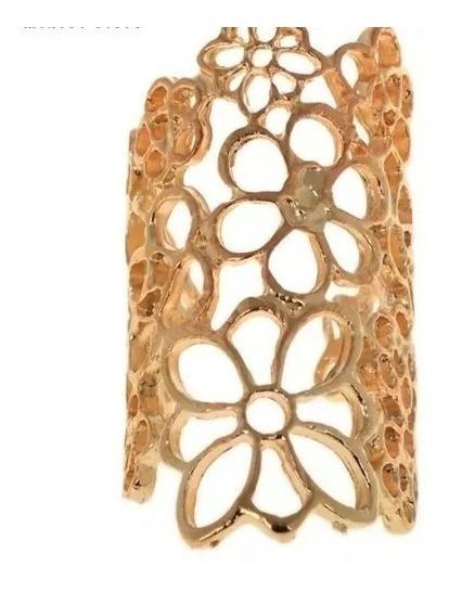 Anel De Luxo Feminino Moda Flores Folheado Ouro Barato