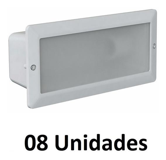 08 Un. Luminaria De Embutir Na Parede Germany 6100 Branca
