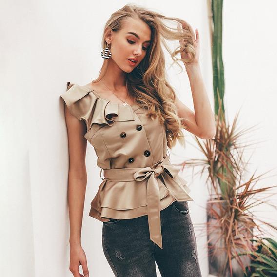 Blusa Feminina Verão Faixa Cáqui Elegante Importada