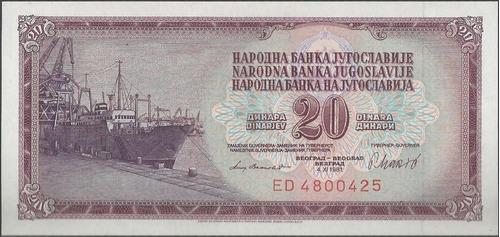 Imagen 1 de 2 de Yugoeslavia 20 Dinara 4 Nov 1981 P88b