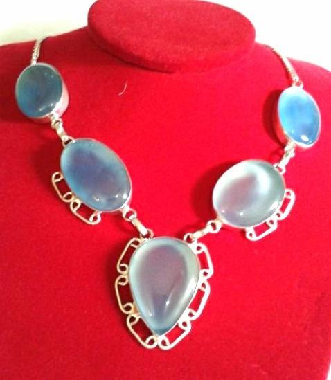 Colar Gargantilha Prata925 Pedras Azul Calcedônia