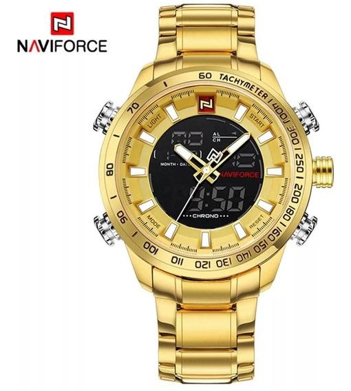 Relogio Masculino Naviforce Nf 9093 Original Dourado+caixa