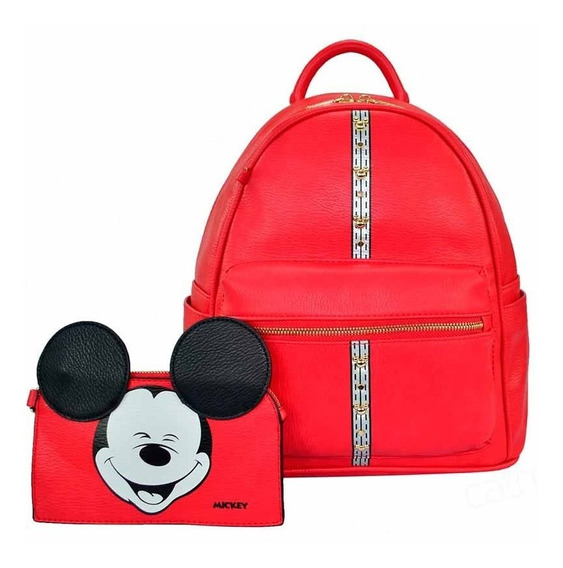 Mochila Feminina Mickey + Chaveiro Carteira- Original Disney