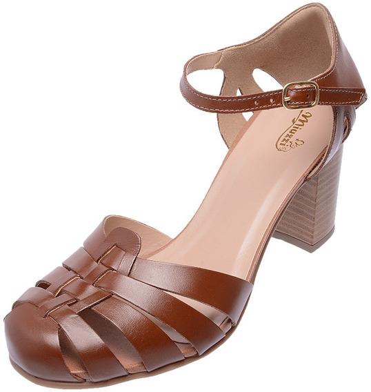 Sandalia Feminina Estilo Retro Mz Couro Chocolate Ref 3186