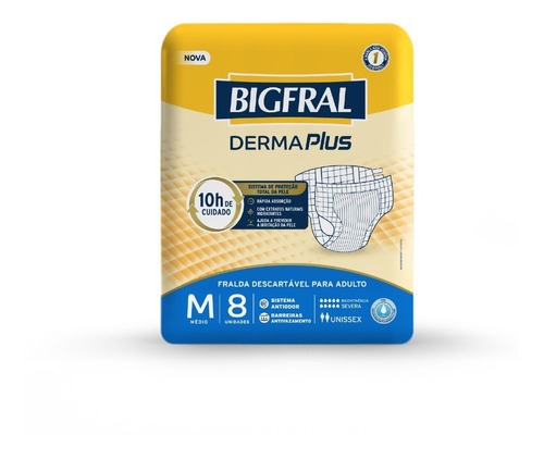 Imagem 1 de 5 de Fralda Bigfral Derma Plus Tamanho M - 8 Unidades