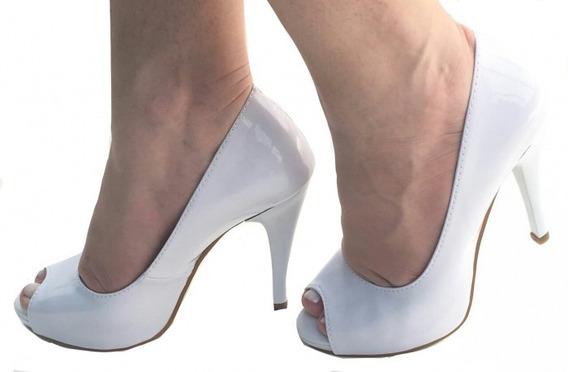 Sapato Feminino Peep Toe Salto Alto Fino Bico Aberto 603