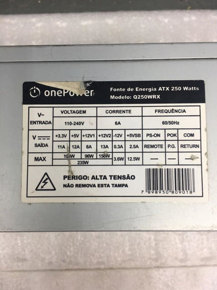 Fonte One Power Model: Q250wrx 24pinos 235w Sata Nominal
