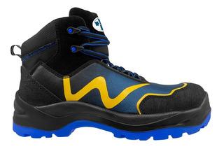 Botas Industrial Seguridad Wsm 2959 Azul Amarillo