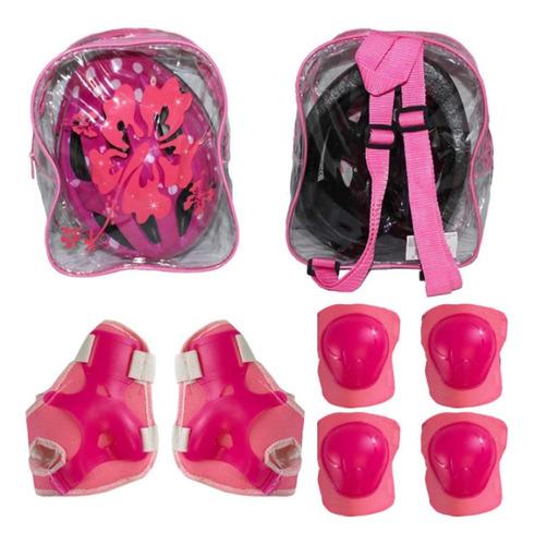 Kit Capacete Infantil C/ Proteção Rosa 52-56cm Menina Bike