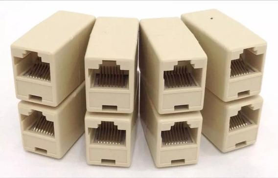 100 Conector Adaptador Emenda Rj45 Femea X Femea Cabo Rede