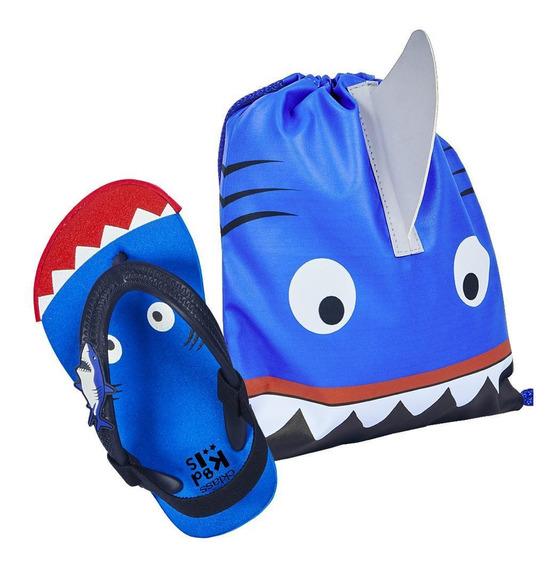 Zapato Sandalia Niño Estampado Animado Tiburón Color Azul Su
