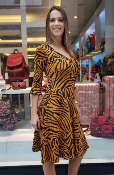 Vestido Estampa Zebra Busto Torcido 3521