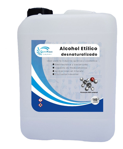 Imagen 1 de 3 de Alcohol Etílico 96 Grados, 10 Litros Quimiklean